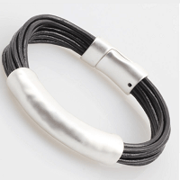 Leather Elegance Cuff Bracelet in Black