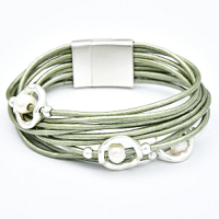 Multilayer Pearl Cuff Bracelet in Green