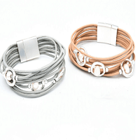 Multilayer Pearl Cuff Bracelet in Silver and peach