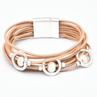 Multilayer Pearl Cuff Bracelet in Peach