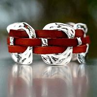 Woven Tan Leather Cuff Bracelet