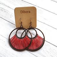 Fanfare Round Earrings in red