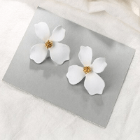 Flower Stud White Earrings
