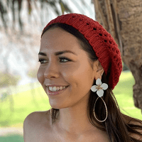 Flower Water Drop Earrings in White red and black