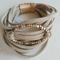 Sienna Suede Cuff Bracelet in beige with copper beads