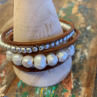 Billie Cuff Bracelet with leather and pearls