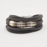 Chloe Wrap Suede Bracelet with copper beads in silver pewter gold and rose gold