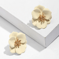 Stud Petals Flower Earrings in White
