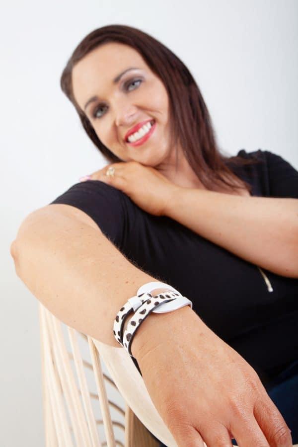 ANASTASIA Bracelet - Black/White Animal Print 4