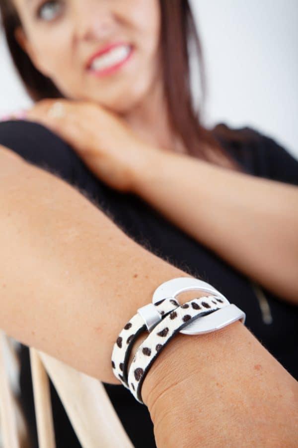 ANASTASIA Bracelet - Black/White Animal Print 7
