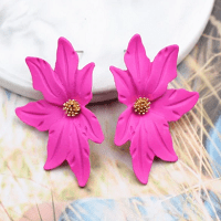 Large Flower Earring Fuscia Pink