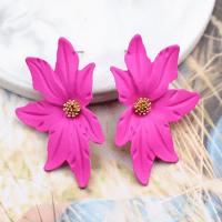 Large Flower Earring Fuscia Pink