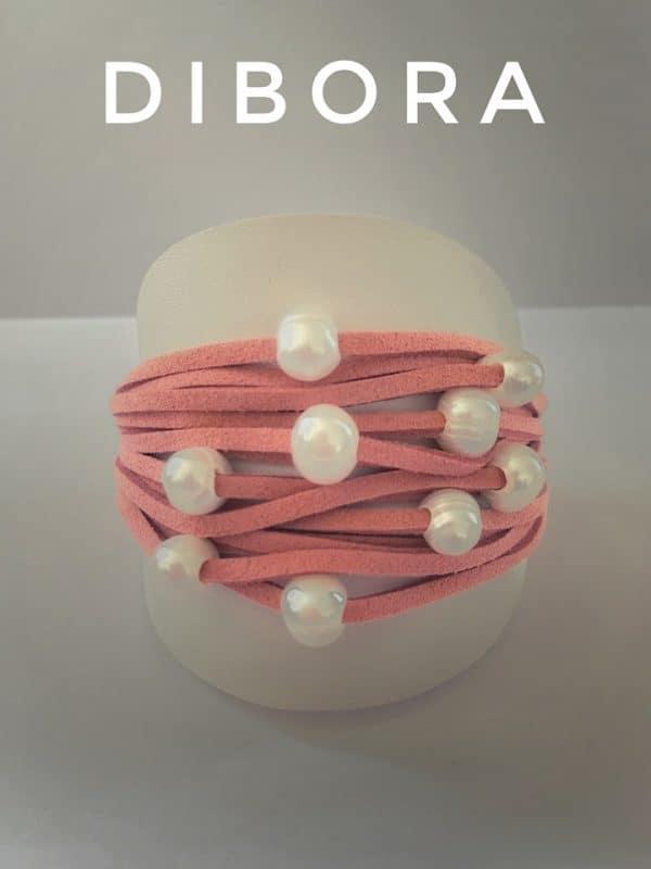 Pearl Suede Cuff Bracelet in Coral