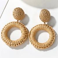Straw Woven Earrings - Beige