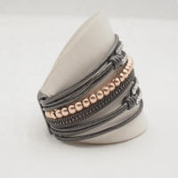 Ava Leather Cuff Bracelet with diamontes