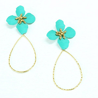Flower Water Drop Earring Blue