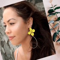 Flower Water Drop Earrings Yellow