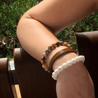 Savannha Cuff Bracelet Leather and Natural Ston