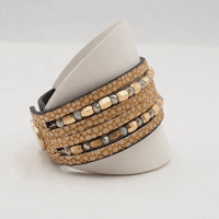 Tianna Leather Cuff Bracelet with snap fastener