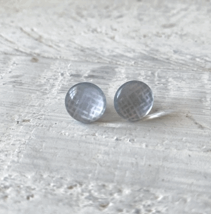 Cabochon Glass Stud Earrings - Neutral 1 11