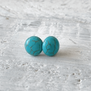 Cabochon Glass Stud Earrings - Neutral 1 9