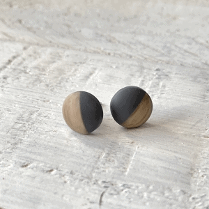 Cabochon Stud Earrings - Black 1 8