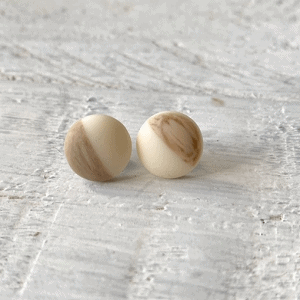 Cabochon Glass Stud Earrings - Neutral 1 6
