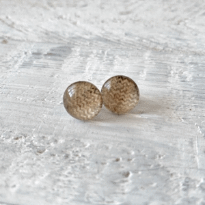Cabochon Glass Stud Earrings - Neutral 1 5