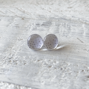 Cabochon Glass Stud Earrings - Neutral 1 4