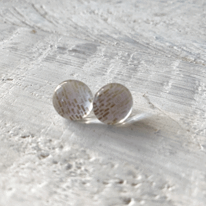 Cabochon Glass Stud Earrings - Neutral 1 1