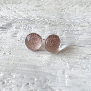 Cabochon Stud Earrings - Orange 2