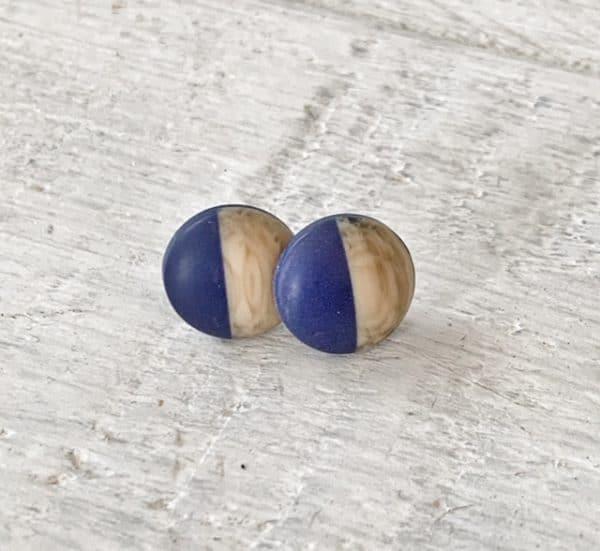 Cabochon Strud Blue / Woodgrain
