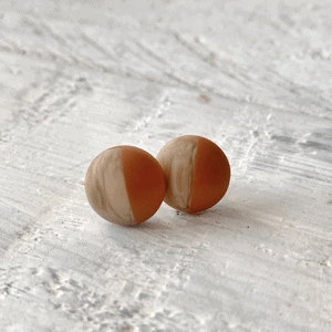 Cabochon Stud Earrings - Orange 1