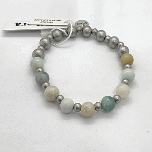 Stainless Steel/Natural Stone - Amazonite - 6mm beads 1