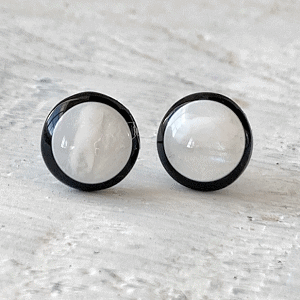 Cabochon Glass Stud Earrings - Neutral 1 17