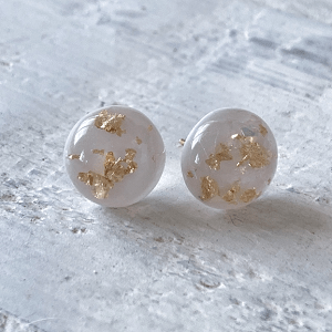 Cabochon Glass Stud Earrings - Neutral 1 12