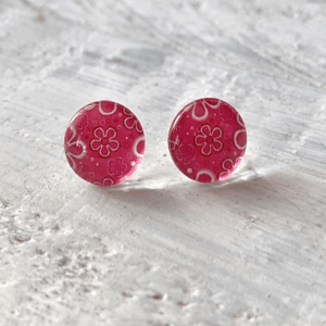 Cabochon Stud Earrings - Pink 4 14