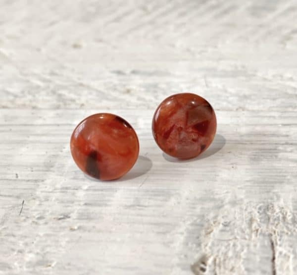 Cabochon Stud Earrings - Orange 18