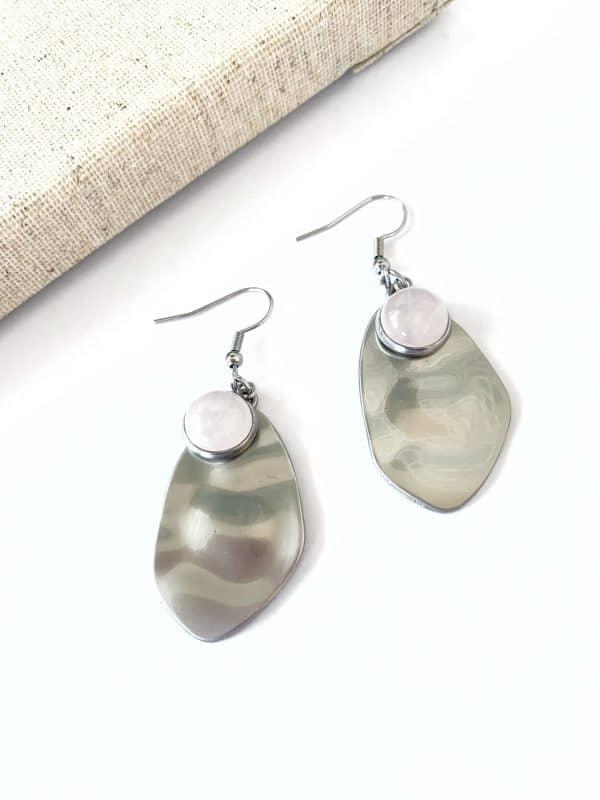 HARPER Earrings - Rose Quartz Stone 1