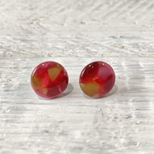 Cabochon Stud Earrings - Orange 22