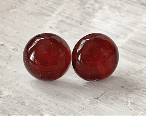 Cabochon Natural Stone Earrings - Amber 1