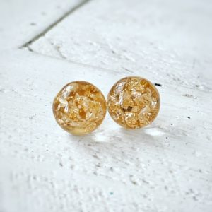 Cabochon Stud Earring Gold FGoil