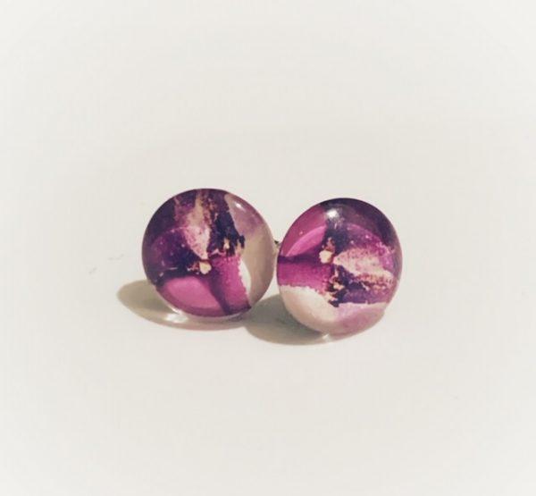 Cabochon Glass Stud Purple 4