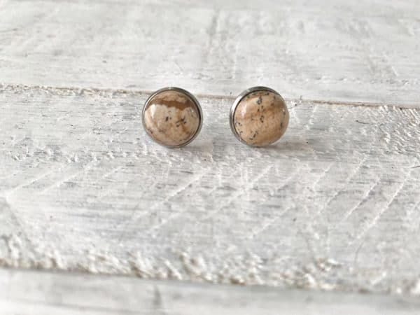 Cabochon Natural Stone Earrings - Picture Stone 1
