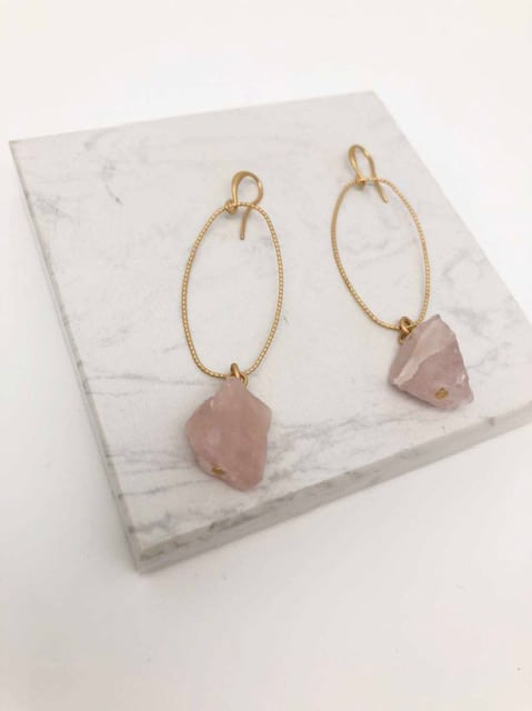 Alaine Earrings Pink Quartz