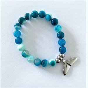 Whale Tail Bracelet Blue Stripe Agate