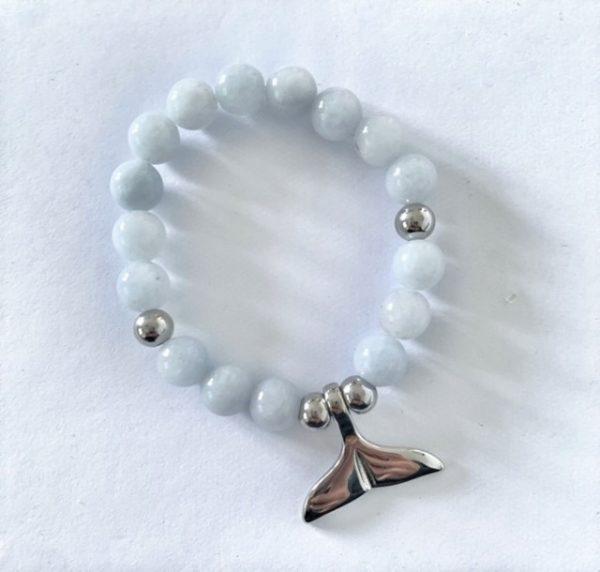 Whale Tail Bracelet Blue Angelite