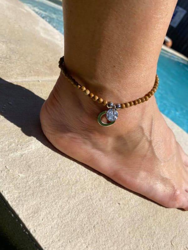 Natural Stone (Pink Quartz) Bead Anklet 17