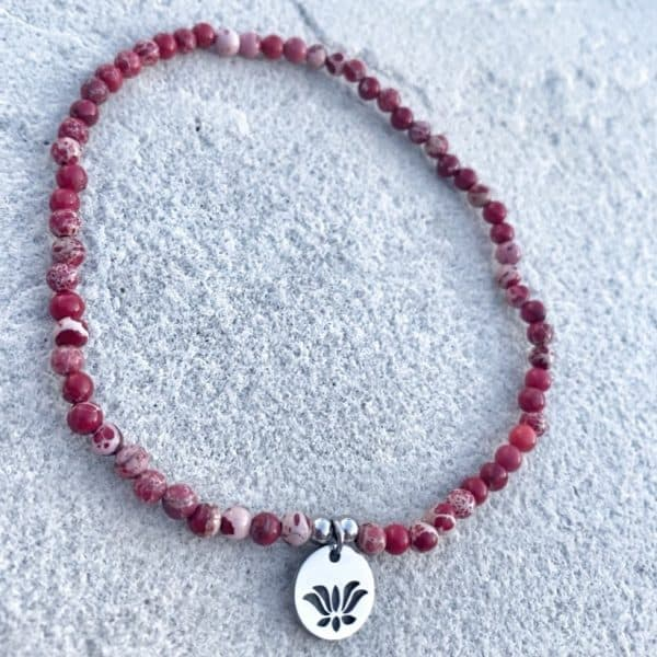 Natural Stone (Red Sea Sediment) Bead Anklet 1
