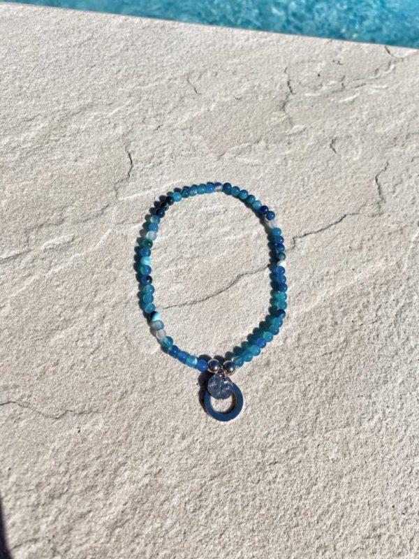 Natural Stone (Pink Quartz) Bead Anklet 14